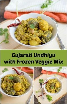 Popular Gujarati Undhiyu recipe with store-bought frozen undhiyu veggie mix with step by step pictures. Gujarati Thali, Gujarati Cuisine, Gujarati Recipes, Indian Food Recipes, Ethnic Recipes, Undhiyu Recipes, Snack Items, Vegetable Curry, Frozen