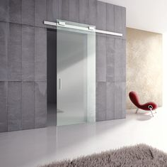 "DIVA Air - Complete Set for Glass Door up to 40"" - Anodized Silver Finish"