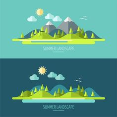Flat design nature landscape on Behance                                                                                                                                                                                 More