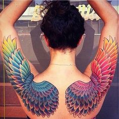 Full shoulder wing tattoos | I love the placement and size, but with a shaded line tattoo rather than color