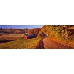Farmhouse beside a country road Jenne Farm Vermont New England USA Poster Print #countryfarmhousedecor