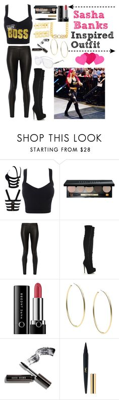 """Sasha Banks Inspired Outfit"" by blackwidow7866 ❤ liked on Polyvore featuring Bobbi Brown Cosmetics, The Row, Marc Jacobs and Michael Kors"