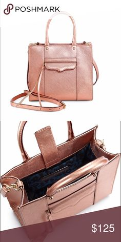 Rebecca Minkoff Rose Gold Mini MAB This gorgeous rose gold bag is perfect for this fall! 8 x 2.75 x 7.5 inches. NWT. Purchased from gilt.com but never used. Photos courtesy of polyvore.com. Happy to offer bundle discounts!  Rebecca Minkoff Bags Crossbody Bags