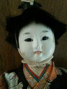 Vintage Gofun NINGYO Japanese Doll Male Silk Brocade Asian Japan Dolls Collector