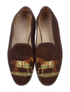 Stubbs & Wootton Suede Printed Loafers - Shoes - WWS24091 | The RealReal Suede Loafers, Loafer Shoes, Flats, Smoking Slippers, Heritage Brands, Luxury Consignment, Printed, Women, Fashion