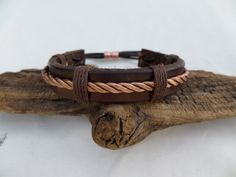 Leather and Copper Bracelet Men's Leather and by ColeTaylorDesigns, $35.00