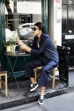 navy pin stripe suit & sneakers #style #fashion #workwear