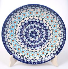 "10"" Dinner Plate (Sky Blue Border) from The Polish Pottery Outlet"