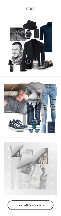 """men"" by princhelle-mack ❤ liked on Polyvore featuring LE3NO, Emporio Armani, Gucci, Urban Pipeline, Shinola, men's fashion, menswear, AMIRI, Jack & Jones and Dsquared2"