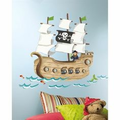 Pirate Ship Peel & Stick Giant Removable Wall Decals Stickers