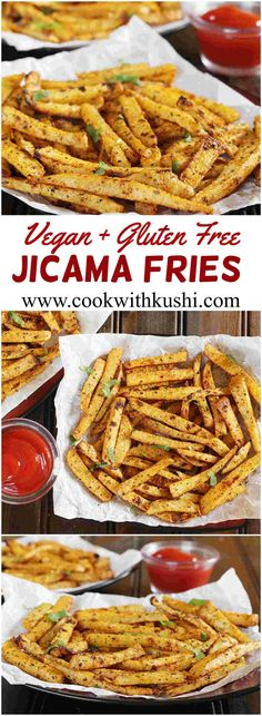 Jicama Fries or Chips are crispy and addictive, irresistibly delicious fries that are a very good alternative to traditional french fries. This is vegan and gluten free.