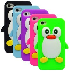 Funda de silicona - pingüino - para Apple iPhone 4 4S