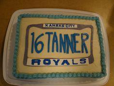 16th Birthday Royals License Plate Cake