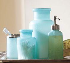 Blue Beach Glass Bath Accessories #potterybarn