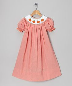 Take a look at this Orange Smocked Pumpkin Bishop Dress - Infant & Toddler by Buttermilk & Bee on #zulily today!