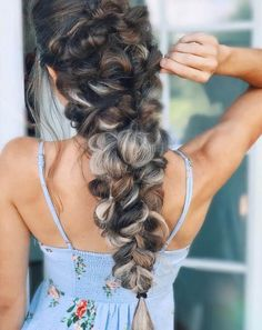 Dark brown hair with ash blonde highlights looks super chic, especially when braided like this #ashblonde #hairstyle #blondehair #haircolor #braids