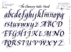 calligraphy alphabet guide - Chancery Italic hand
