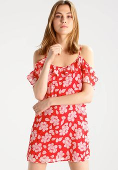 "Abercrombie & Fitch. Summer dress - red. Fit:regular. Outer fabric material:100% polyester. Our model's height:Our model is 71.0 "" tall and is wearing size S. Pattern:floral. Care instructions:machine wash at 30°C. Details:bust darts,adju..."