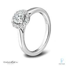 Gabriel & Co. platinum engagement ring featuring an elegant halo of diamonds surrounding the center stone.