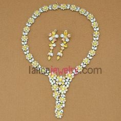 Delicate assorted color zirconia beads decorated necklace and earrings set