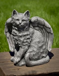 Charming Angel Kitty Cast Stone Cat Statue Made By Campania International