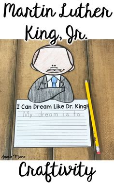 Adorable Martin Luther King, Jr. I Have A Dream writing and craft!  Perfect for a January bulletin board!  MLK Day for printables for Kindergarten, First, and Second Grade