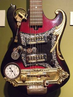 Find images and videos about guitar, metal and steampunk on We Heart It - the app to get lost in what you love. Arte Steampunk, Steampunk Artwork, Steampunk Design, Steampunk Fashion, Steampunk City, Guitar Art, Music Guitar, Cool Guitar, Guitar Room