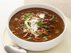 Slow-Cooker Black-Bean Soup with Turkey Recipe : Food Network Kitchen : Food Network Slow Cooker Black Beans, Crock Pot Slow Cooker, Slow Cooker Recipes, Crockpot Meals, Turkey Crockpot, Korma, Biryani, Slow Cooking, Slow Food