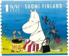 2007 Suomi Finland stamp of Moomin cooking on a campfire