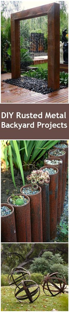 Rusted Metal DIY Projects for your home and yard.  Water features, garden beds and other fun rusted metal accents for your yard.