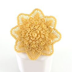 Celluloid Jewelry | Vintage Flower Brooch, Celluloid Plastic Jewelry, Honey Gold Yellow ...