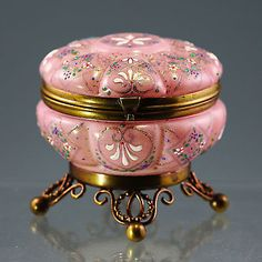 ANTIQUE BOHEMIAN MOSER ENAMELED ART GLASS HINGED JEWELRY TRINKET BOX JAR ORMOLU in Collectibles, Decorative Collectibles, Trinket Boxes | eBay