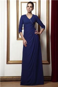 エレガント スレンダーライン Vネック 七分袖 床までの長さ 花嫁さんの母ドレス