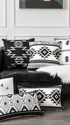 Modern Condo, Modern Decor, Small Lounge Rooms, Shibori, Mexican Textiles, Guest Room Office, Black And White Interior, Home Textile, Plexus Products