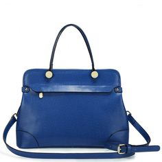 515683d9568a Genuine Leather Cross grain Cowhide leather two way bag Blue - Buy it now  at www