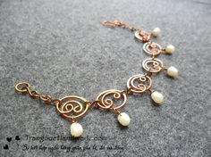 Copper Wire Wrapped bracelet with pearl dangles