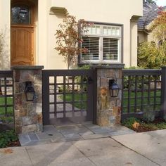 The Best Yet Inexpensive Front Yard Fence Ideas: Fresh Front Yard Wood Fence With Stone Columns – ComQT backyard design diy ideas Small Front Yard Landscaping, Fence Landscaping, Backyard Fences, Fenced In Yard, Garden Fencing, Backyard Ideas, Pool Fence, Small Fence, Garden Ideas
