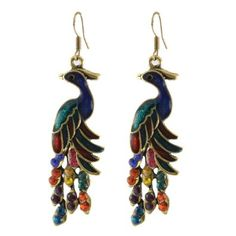 Rosallini Rhinestone  Peacock Shaped Earrings - I like these, I would actually wear them.
