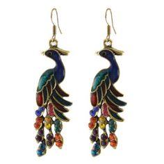 Rosallini Rhinestone  Peacock Shaped Earrings - I like these, I would actually wear them.