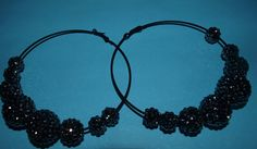 Black Pave Crystal Balls on Black Hoops  Rhiana  by opalsandowls, $25.00