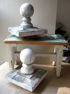 Pair of Antique Wooden Fence Gate Post Ball Finials w Bases in Weathered Old White Paint, Architectural Accent 65.