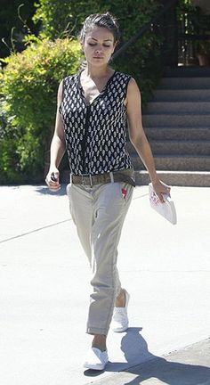 Mila Kunis leaving lunch at Suzanne's Cuisine on July 27, 2015 in Ojai, CA., wearing a Tolani Whitney Sleeveless Top and Dr. Scholl's Madison Fashion Sneakers. #milakunis #style