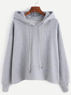 Sweat-shirt avec capuche et lacet - gris -French SheIn(Sheinside)