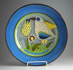 Keramikfat med fugl - Rolf Hansen, Kongsberg