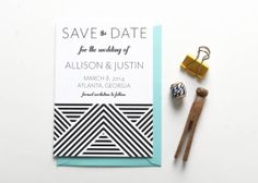 Gatsby Wedding Invitation // Save the Date // by PuddleduckPaperCo