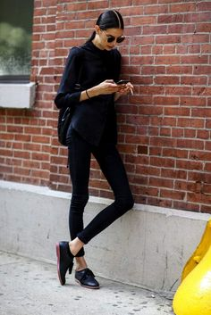 Long and Lean: all black, over size half turtle neck, leggings, beautiful shoe