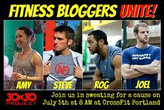 Fitness Bloggers Unite! Amy Clover, Steve Kamb, Rog Law and Joel Runyon are teaching a HIIT CrossFit-ized bodyweight bootcamp for a cause!