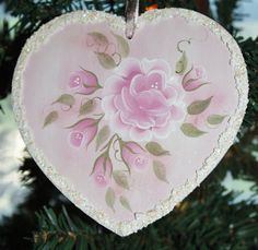 Victorian, Shabby Romantic, Pink Rose, Hand Painted, Wood, Heart, Ornament