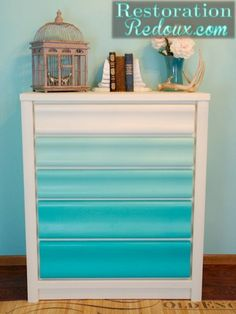 Turquoise Ombre Painted Dresser - Restoration Redoux - Add knobs for a beach themed room? Furniture Projects, Furniture Makeover, Home Projects, Diy Furniture, Furniture Stores, Furniture Design, Repurposed Furniture, Painted Furniture, Painted Dressers