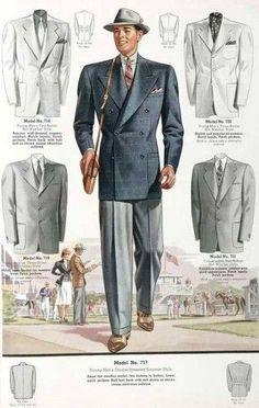 1930 - recht silhouette (brede schouders), jas tot op de heup, rechte broek, rechte jas. lagere iets bollere hoed